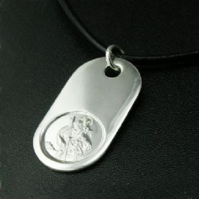 Saint Christopher LARGE Silver Dog Tag with cord or bead chain, personalised engraved ref LSCDT